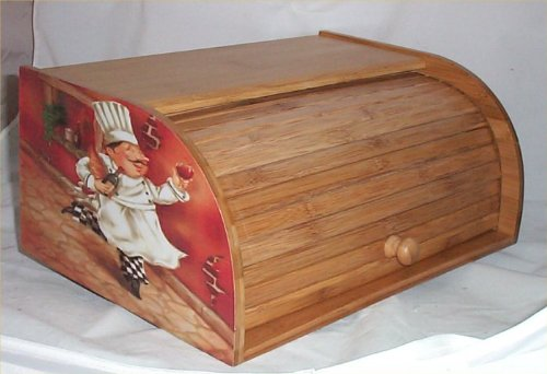 Fat Chef Bread Box Bamboo Wood Bistro Kitchen Bin Brick Chefs New