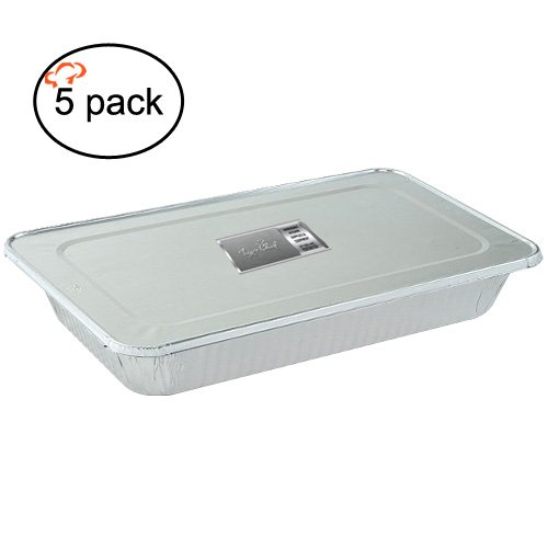 TigerChef Durable Aluminum Foil Steam Table Pans with Foil Lids Aluminum Foil Pans with Lids 21 x 13 x 25 Size Pack of 5