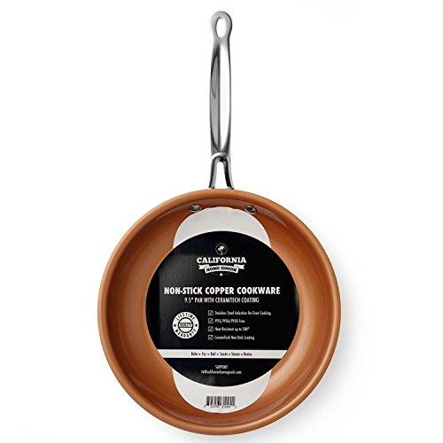 "California Home Goods 95"" Non-Stick CermiTech Frying Pan Oven Safe Dishwasher Safe Scratch Proof Ceramic Titanium Blend Copper Colored"