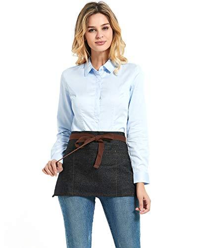 3 Pockets Denim Fabric Unisex Short Half Waist Apron for Women Home Kitchen Restaurant Bistro Cafe Bar Uniform