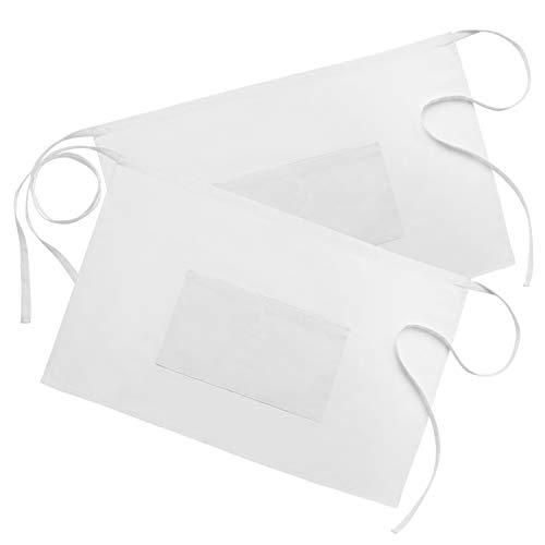 Syntus 2 Pack 2 Pockets 100 Cotton Waitress Waist Apron 18 x 28 inch White