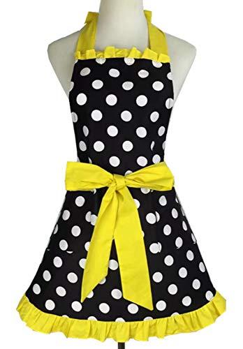 Kitchen Aprons Woman Retro Vintage Girl Polka Dot Cooking Pinafore Christmas Apron Dress Dot Yellow