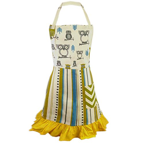 Green Hoot Hoot Hooray Owl 2-in-1 Apron  Full Apron to Half Apron  Handmade USA  Cooking Crafting Gift