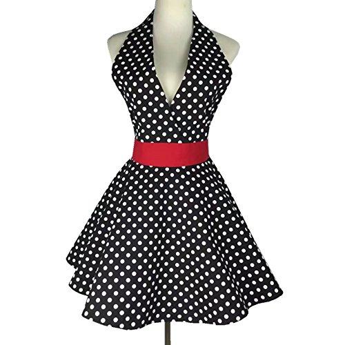 Lqchl Sexy Retro Black Polka Dot Bib 100 Cotton Kitchen Full Apron Dress For Womn Waitress Gift