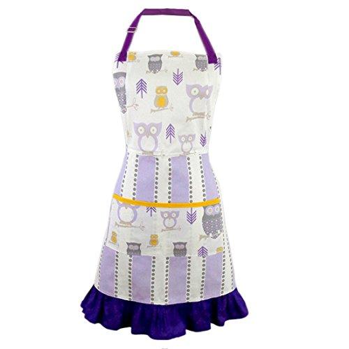 Purple Hoot Hoot Hooray Owl 2-in-1 Apron  Full Apron to Half Apron  Handmade USA  Cooking Crafting Gift