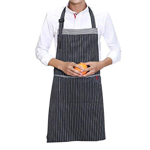 Kamanqi Unisex Adjustable Bib Apron with Pockets - Extra Long Ties BlackGrey Pinstripe 29 x 256 Inches