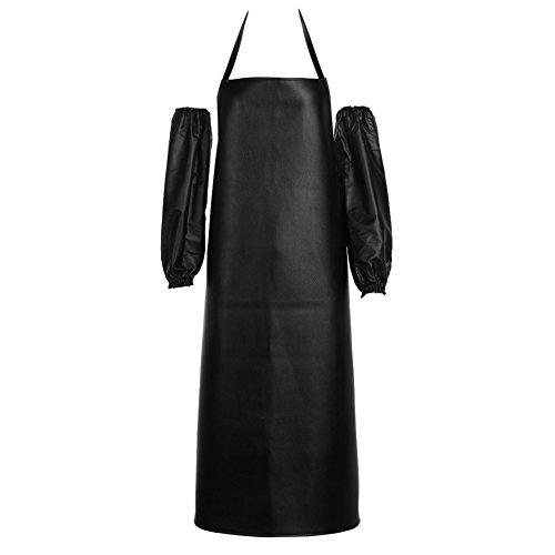 Whitelotous Unisex Leather Waterproof Bib Apron with Pockets Chef Restaurant Cooking Welding Aprons Black Bib ApronOversleeve