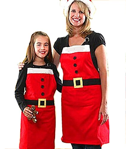 NonEcho Novelty Kitchen Aprons Christmas Costume Aprons Traditional White Red Santa Clause Dress