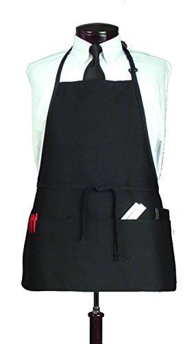 Ritz CL3PBIABKFP 4 Pocket Bib Serving Apron Black Pack of 12