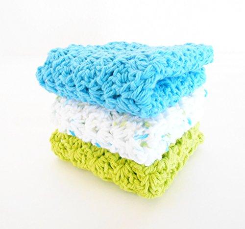 Crochet Kitchen Dishcloths Set of Three Lime Green Ocean Blue Multi