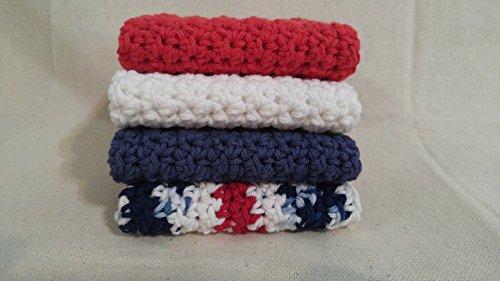 Farmhouse Kitchen Crochet Dishcloths Crochet Washcloths Gift for Mom Gift for Grandmother Americana Set of 4