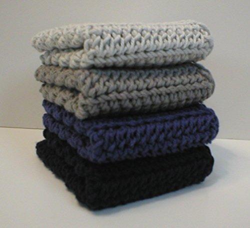 Handmade Crochet Cotton Dishcloths or Washcloths Set of 4 1 each of Light Grey Silver Grey Deep Blue and Dark Navy