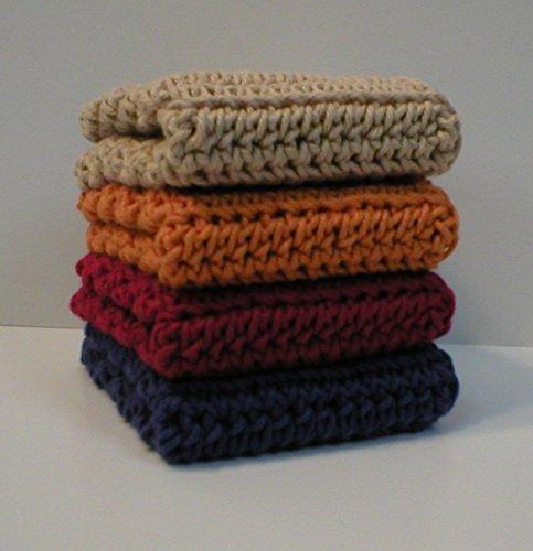 Handmade Crochet Cotton Dishcloths or Washcloths Set of 4 Blue Red Orange Beige