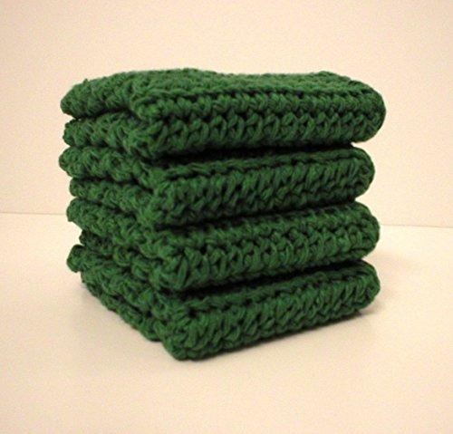 Handmade Crochet Cotton Washcloths Dishcloths Set of 4 Dark Green Jalapeno Green