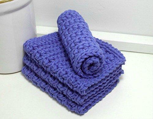 Royal Blue 4 Inch x 7 Inch Rectangular Crochet Cotton Dishcloths Set of 4
