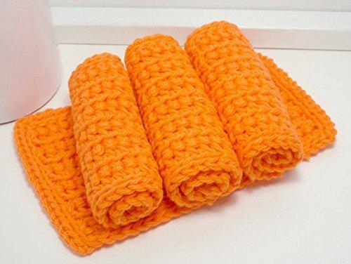 Safety Orange 4 Inch x 7 Inch Rectangular Crochet Cotton Dishcloths Set of 4