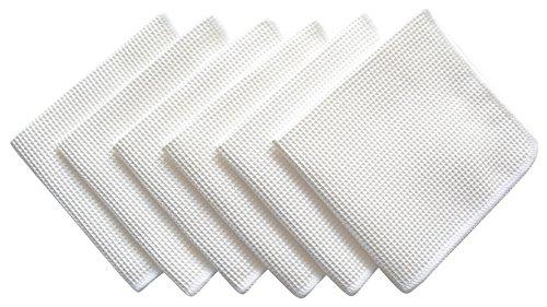 Sinland Microfiber Deep Waffle Weave Facial Exfoliator Kitchen Cloths Dishcloths 12x12Pack of 6 White