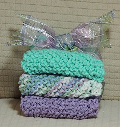 "FREE SHIPPING 7½ "" x 7½ "" Set of Three Hand-Knitted Pure Cotton Dish Cloths Aquamarine  Multi-Color  Lavender tied with beautiful coordinating Ribbon Colors more vibrant in person"
