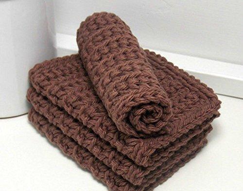 Brown 4 Inch x 7 Inch Rectangular Crochet Cotton Dishcloths Set of 4