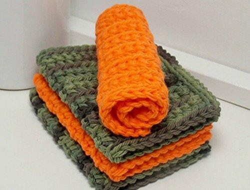 Camouflage and Orange 4 Inch x 7 Inch Rectangular Crochet Cotton Dishcloths Set of 4