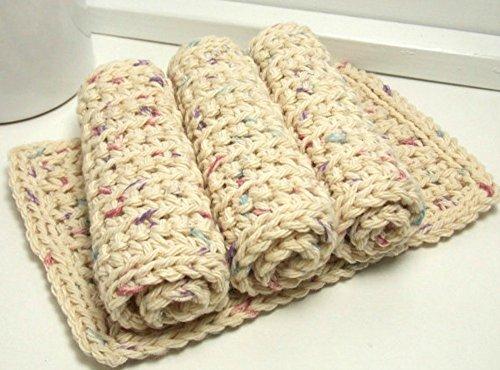 Confetti 4 Inch x 7 Inch Rectangular Crochet Cotton Dishcloths Set of 4