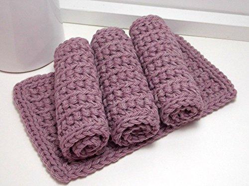 Light Purple 4 Inch x 7 Inch Rectangular Crochet Cotton Dishcloths Set of 4
