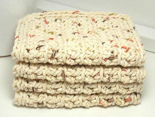 Natural 4 Inch x 7 Inch Rectangular Crochet Cotton Dishcloths Set of 4