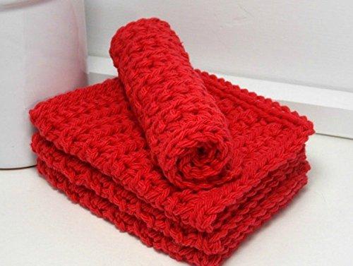 Red 4 Inch x 7 Inch Rectangular Crochet Cotton Dishcloths Set of 4