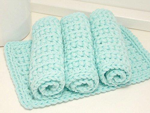 Robins Egg Blue 4 Inch x 7 Inch Rectangular Crochet Cotton Dishcloths Set of 4 Aqua
