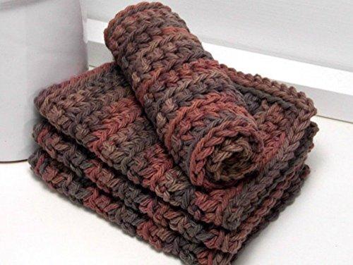 Variegated Brown 4 Inch x 7 Inch Rectangular Crochet Cotton Dishcloths Set of 4