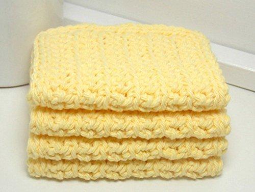 Yellow 4 Inch x 7 Inch Rectangular Crochet Cotton Dishcloths Set of 4