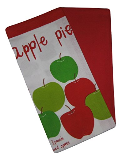Apple Pie Theme and Red Cotton Dish Towel Kitchen Set 2 Items