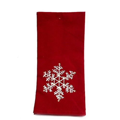 Snowflake Beaded Red Dishtowel Set of 2