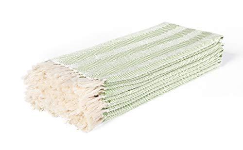 Cotton Clinic Herringbone Kitchen Dish Towels 6 Pack 16x26 Hotel Grade Dish Cloths Bar Towels Tea Towels Cleaning Towels Kitchen Towels with Hanging Loop Absorbent Dish Towels Lime Green