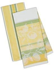 DII Kitchen Dish Towel Set 2 Riviera Lemons Yellow Green Includes 1 Lemon Print 1 Stripe