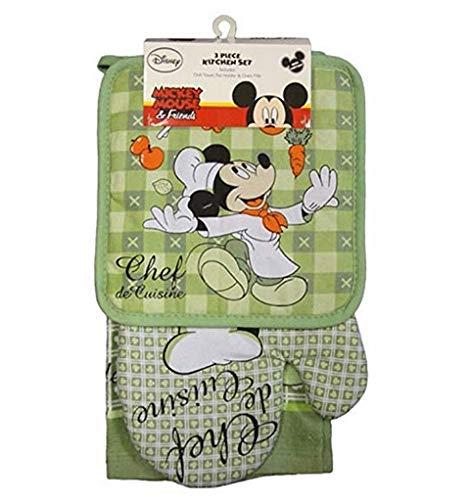 Disney Oven Mitt Pot Holder Dish Towel 3 pc Kitchen Set Mickey Mouse Green