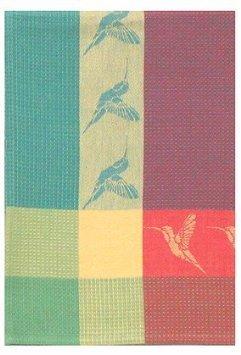 Traders and Company 100 Cotton Green Red 20x28 Dish Towel Set of 3 - Hummingbird Jade