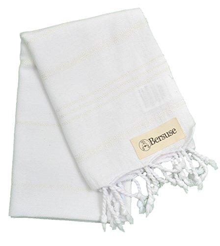 Bersuse 100 Cotton - Anatolia Hand Turkish Towel Pestemal - Baby Care Kitchen Tea Dish Washcloth - Travel Gym Head Hair Face Peshtemal - Classic Striped - 22X35 Inches White