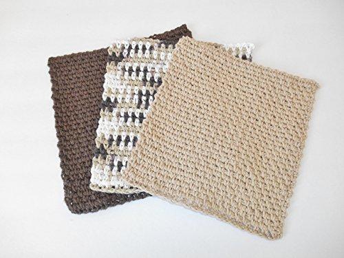 Crochet Dishcloth Set of Three - Brown Tan and Multi