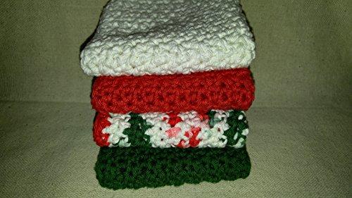 Crochet Dishcloths Farmhouse Kitchen Crochet Washcloths Gift for Mom Gift for Grandmother Christmas Set of 4
