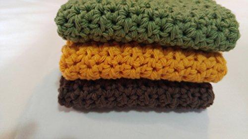 Crochet Dishcloths Farmhouse Kitchen Crochet Washcloths Gift for Mom Gift for Grandmother Fall Colors Set of 3