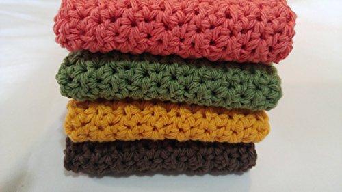 Crochet Dishcloths Farmhouse Kitchen Crochet Washcloths Gift for Mom Gift for Grandmother Fall Colors Set of 4