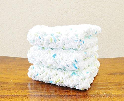 Crochet Dishcloths Set of Three 8 X 8 White with Flecks of Blue and Green Dish Cloths