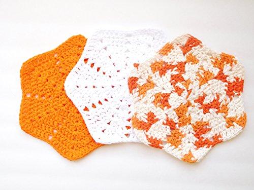 Crochet Dishcloths Set of Three Orange White and Poppy