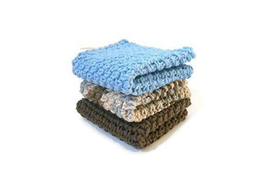 Crochet Kitchen Dishcloths Set of Three Blue Brown and Multi