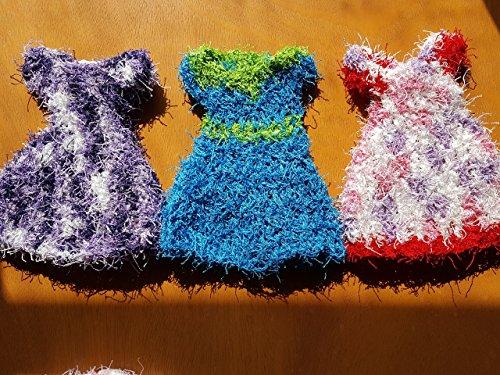 Handmade crochet dishcloths dress shape set of 3