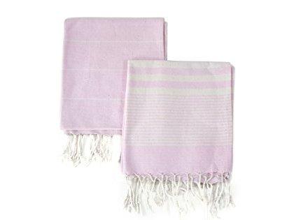 Set of 2 Eco-friendly Turkish Tea Towel Dishclothes Peshkir Dish Towel Kitchen Towel Hand Towel Size 18″ x 40″ Light Pink