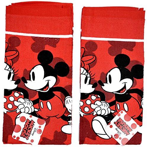 Disney Dish Towels 2 Piece Set Kitchen Cloth Mickey Minnie Red
