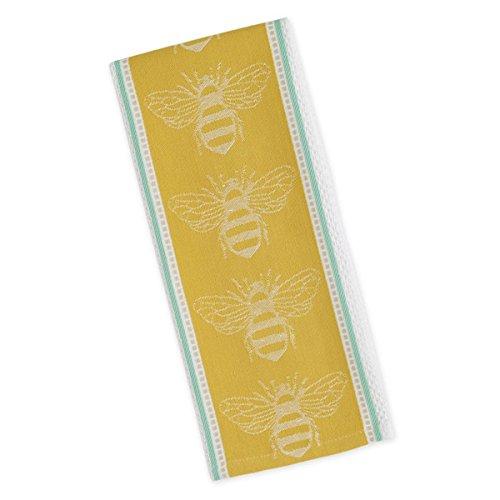 DII Design Imports Bee Jacquard Kitchen Towel Dishtowel 18 X 28 100 Cotton Hanging Loop Machine Wash