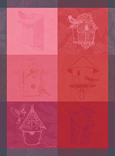Garnier-Thiebaut Birdhouse Pink French Jacquard Kitchen Towel 100 Percent Cotton 22 Inches x 30 Inches